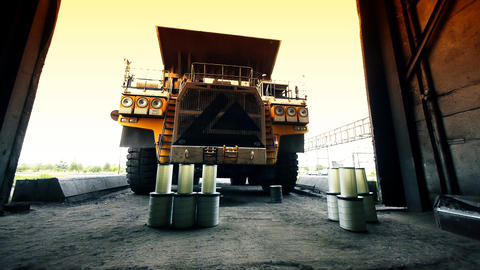 Mining truck garage Stock Video Footage
