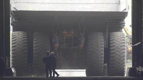 Mining truck garage Stock Video Footage