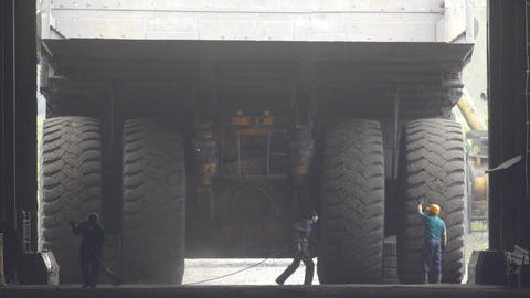 Mining truck garage 009 Stock Video Footage