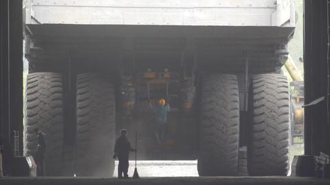 Mining truck garage 009 Stock Video Footage