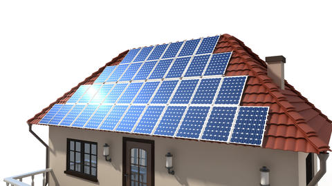 mounting solar panels on the roof Animation