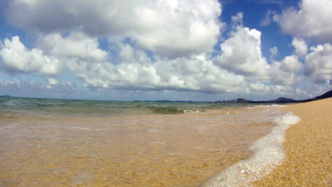 Ocean waves on tropical sand beach Stock Video Footage