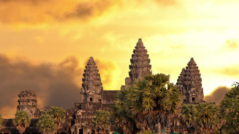 Angkor Wat temple silhouette with sunset sky and clouds Stock Video Footage