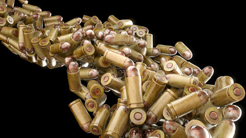 Ammo and weapon: bullets flow with slow motion. Alpha is... Stock Video Footage