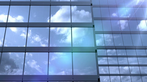 skyscrapers and reflected clouds Animation