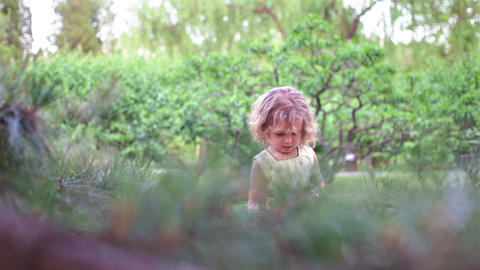 Little girl playing in the forest. Hand shoot Stock Video Footage