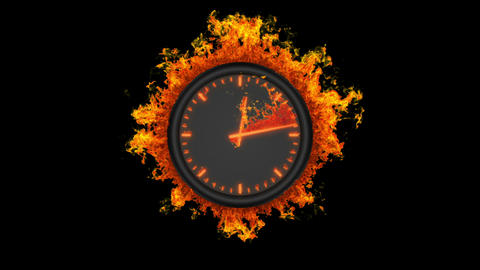 Burning clock Stock Video Footage