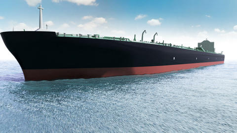Oil tanker in a sea Animation