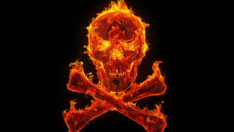 Burning Skull And Crossbones stock footage