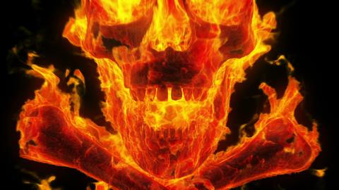 Burning skull and crossbones Stock Video Footage