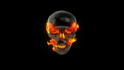 Burning metal skull Stock Video Footage