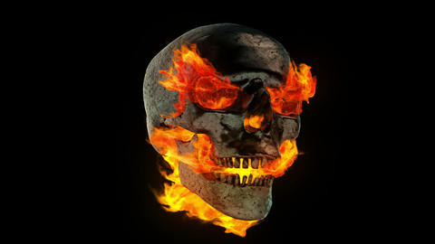 Burning Metal Skull stock footage
