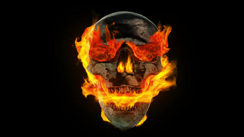 Burning metal skull Stock Video Footage