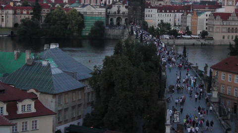 Prague Bridge 1 Stock Video Footage
