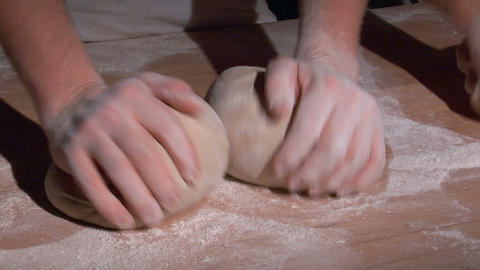 two german baker kneading bread spot 10818 Stock Video Footage