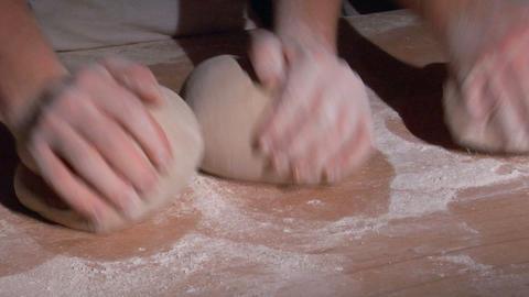 two german baker kneading bread spot 10818 Stock Video Footage