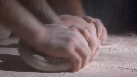 two german baker kneading bread side spot 10822 Stock Video Footage