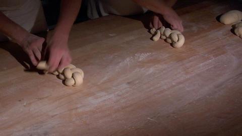 two german baker bread plait braid challah spot 10824 Stock Video Footage