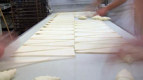 german bakery roll bun croissant time lapse conveyor belt... Stock Video Footage
