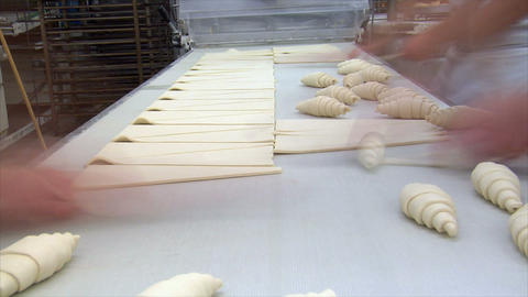 german bakery roll bun croissant time lapse conveyor belt... Stock Video Footage