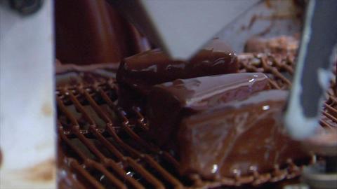 confectioner Baumkuchen triangles chocolate conveyor belt... Stock Video Footage