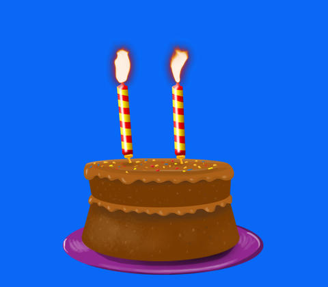 Birthday Cake blowing out candles Animation