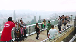 Tourists on the observation deck at the Victoria Peak Footage
