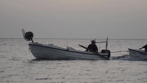 Fishing boats bound for the fishery up across the sea 2 Footage