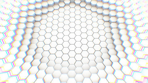 Abstract geometric hexagons, optical Illusion, computer generated 3D rendering Footage