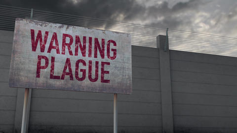 4K Plague Warning and Strong Fence under Clouds Timelapse Animation