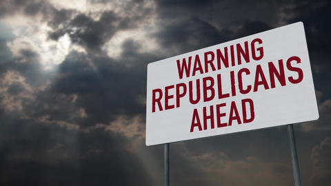 4K Republicans Ahead Warning Sign under Clouds Timelapse Animation