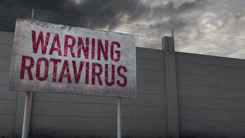 4K Rotavirus Warning and Strong Fence under Clouds Timelapse Animation
