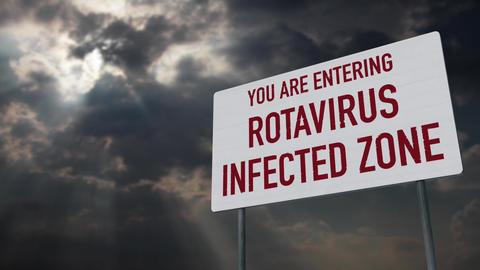 4K Rotavirus Warning Sign under Clouds Timelapse Animation
