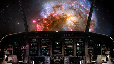 Inside a Spaceship Cockpit Flying Toward a Beautiful Galaxy Live Action
