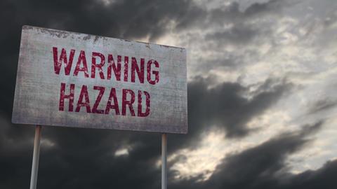 4K Warning Hazard Rusty Sign under Clouds Timelapse Animation