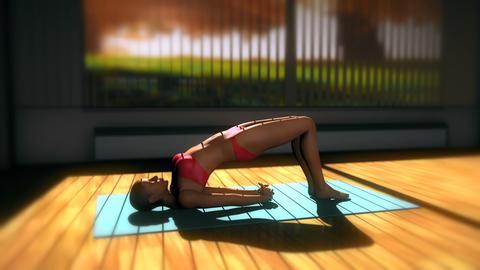 Bridge Yoga Pose in Yoga studio 3D Animation Animation