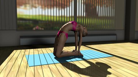 Camel Yoga Pose in Yoga studio 3D Animation Animation