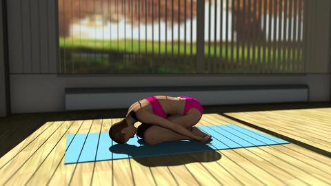 Children Yoga Pose in Yoga studio 3D Animation Animation