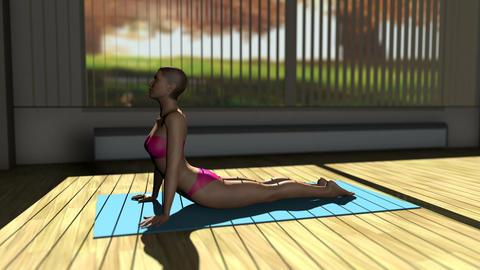 Cobra Yoga Pose in Yoga studio 3D Animation Animation