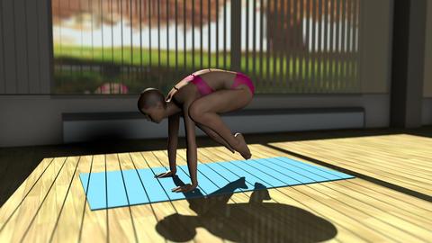 Crane Yoga Pose in Yoga studio 3D Animation Animation