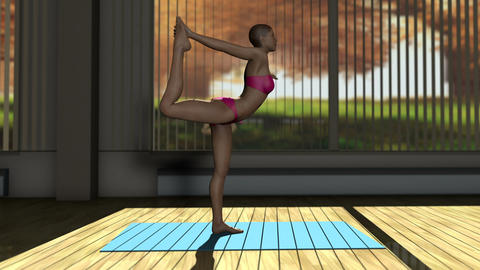 Dancer Yoga Pose in Yoga studio 3D Animation Animation