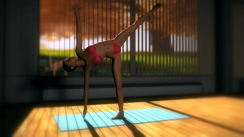 Halfmoon Yoga Pose in Yoga studio 3D Animation Animation