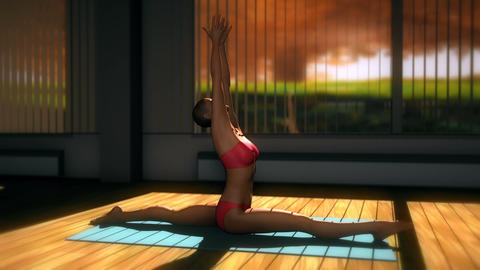 Monkey Yoga Pose in Yoga studio 3D Animation Animation