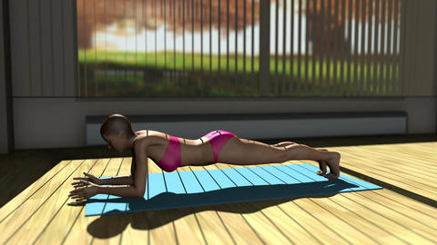 Plank v1 Yoga Pose in Yoga studio 3D Animation Animation