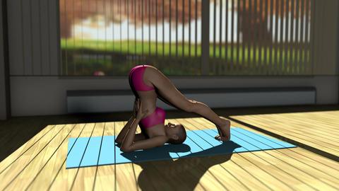 Plow Yoga Pose in Yoga studio 3D Animation Animation