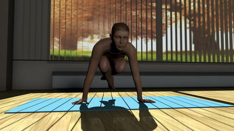 Scale Yoga Pose in Yoga studio 3D Animation Animation