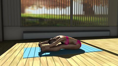 Seated Forward Bend Yoga Pose in Yoga studio 3D Animation Animation