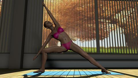 Sideangle Yoga Pose in Yoga studio 3D Animation Animation