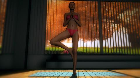 Tree Yoga Pose in Yoga studio 3D Animation Animation