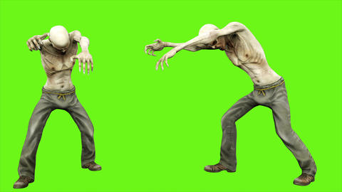 Walk a zombie - seperated on green screen. Loopable. 4k Animation